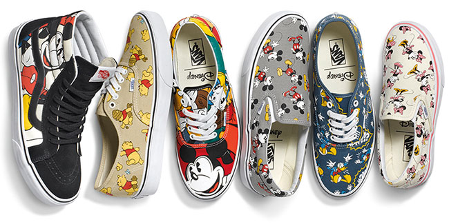 Vans released the Disney footwear and apparel collection Young at Heart on Friday.