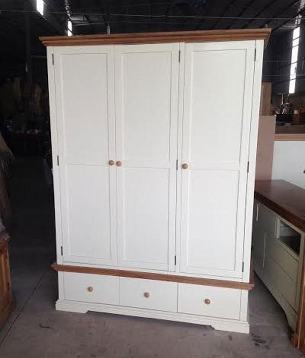 Tủ áo gỗ sồi trắng 3 cánh