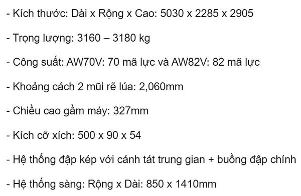 Thông số kỹ thuật của máy Yanmar AW82V