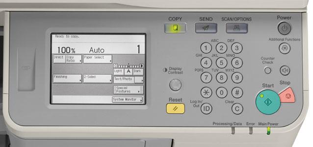 Bảng điều khiển của máy photocopy đơn giản