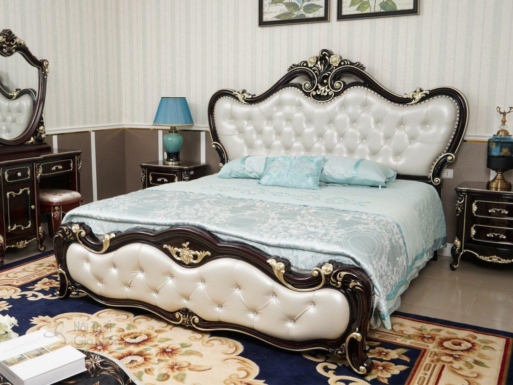 Giường ngủ màu xanh ngọc đẹp