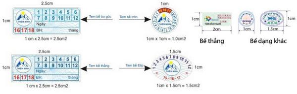 Kích thước tiêu chuẩn của tem bảo hành