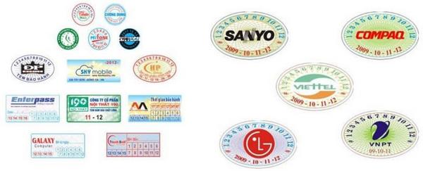 Mẫu tem bảo hành màu full kích thước và hình dạng