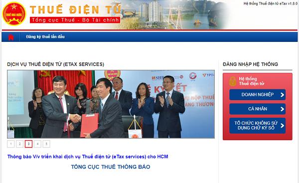 Truy cập Trang thông tin điện tử của Tổng cục Thuế