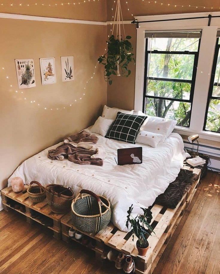 Giường gỗ pallet thiết kế tối giản đẹp mắt