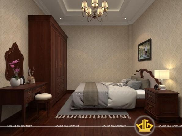 Mẫu nội thất phòng ngủ tân cổ điển gỗ cao cấp