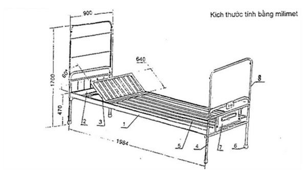 Kích thước tiêu chuẩn của giường y tế không bánh xe