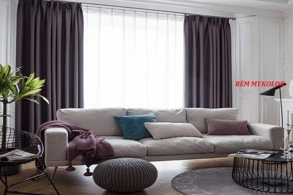Rèm vải màu xám cho phòng khách