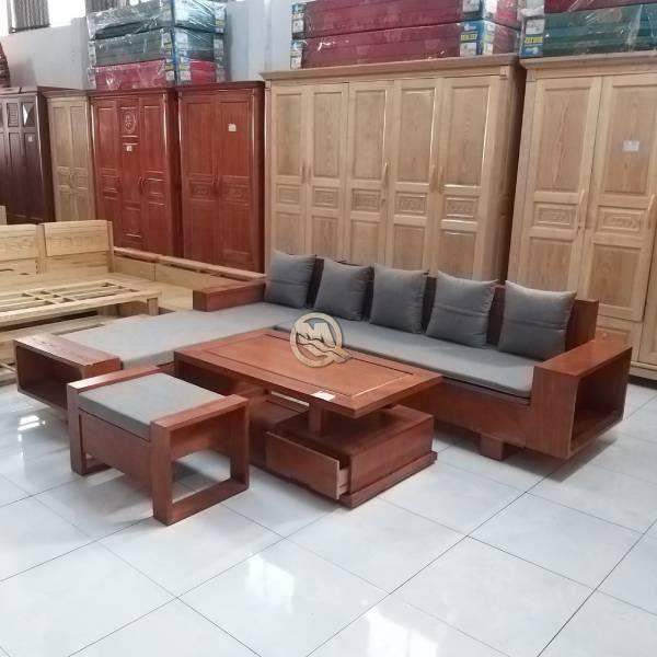 Bàn ghế phòng khách chung cư gỗ sồi với thiết kế đơn giản nhưng rất sang trọng