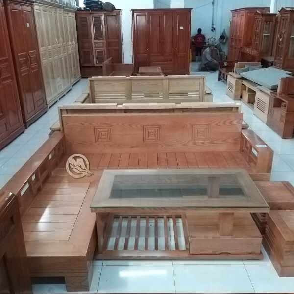 Bộ bàn ghế safa phòng khách chung cư nhỏ bằng gỗ sồi với thiết kế đơn giản