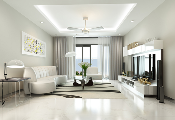 Thiết kế của phòng khách cần đảm bảo sự rộng rãi, sang trọng