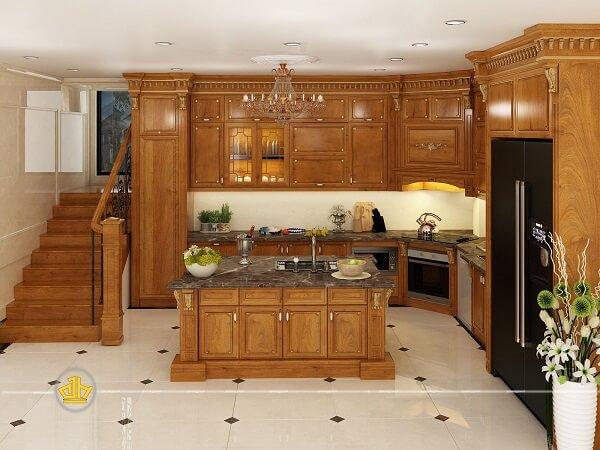 Giá tủ bếp gỗ đồ tự nhiên hiện nay khác nhau