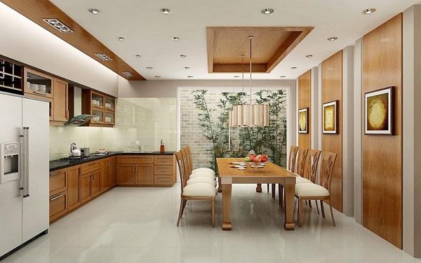 Phòng ăn là khu vực tập trung sinh hoạt của gia đình vì thế đảm bảo phòng khách thoáng rộng, sạch sẽ