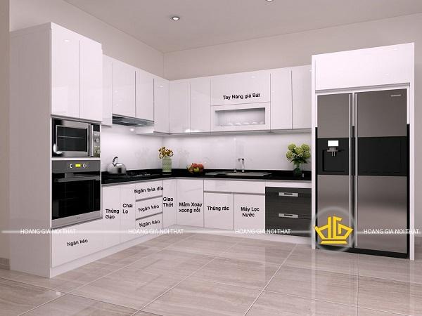 Tủ bếp acrylic màu trắng phổ biến rộng rãi