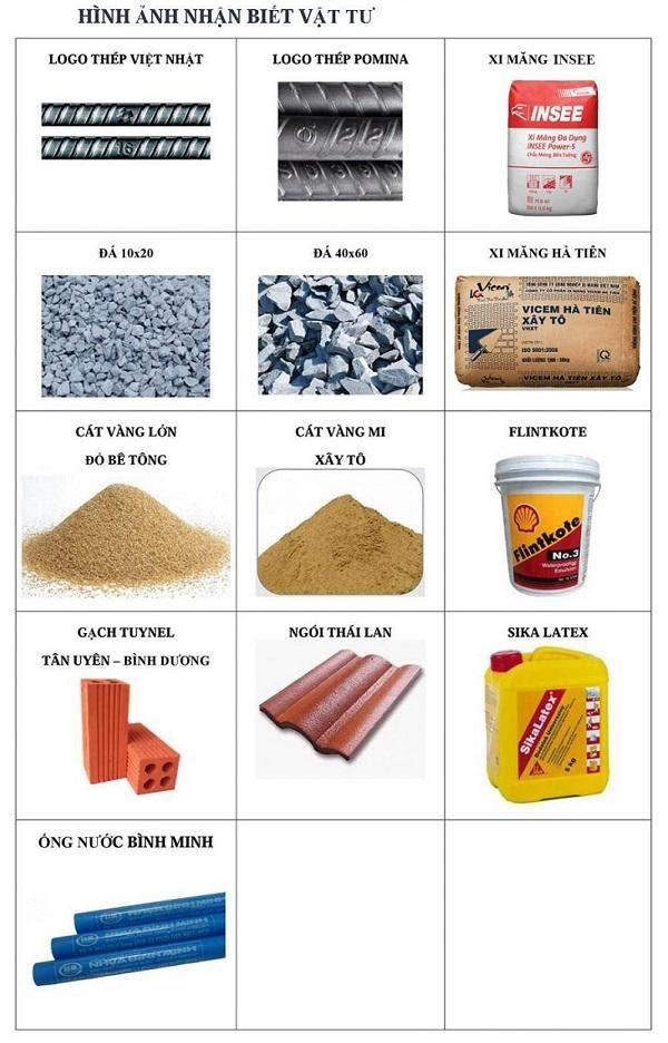 Một số vật tư sử dụng xây dựng phần thô
