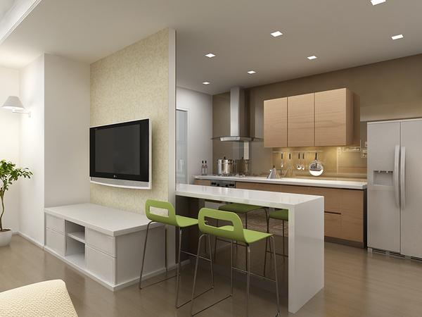 Kiểu thiết kế phòng khách liền kề nhà bếp