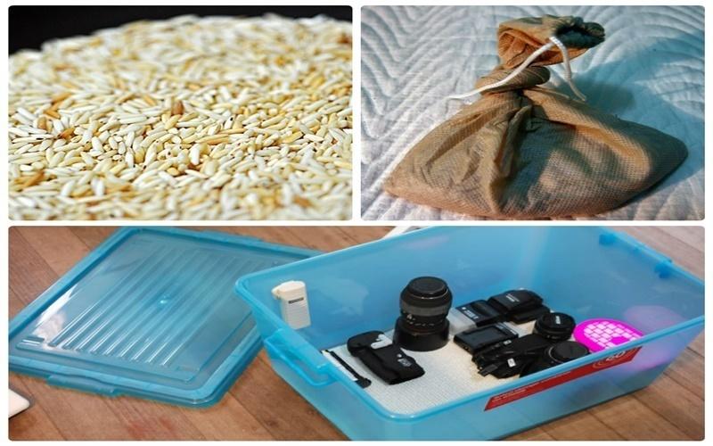 Gạo rang bảo quản máy ảnh khỏi ẩm mốc